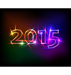 2015 year with colored neon lights effect vector