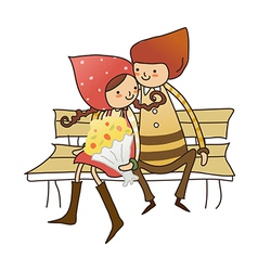 Boy and Girl sitting on bench vector image vector image