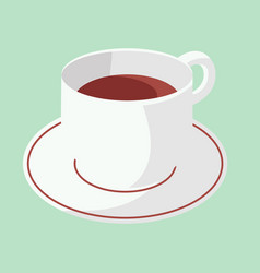 Cup of coffee on plate with green pastel vector