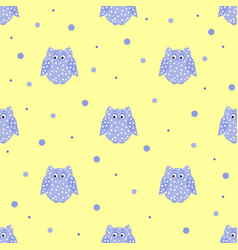 dotted purple owls with yellow backdrop vector image