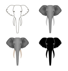 elephant icon in cartoon style isolated on white vector image