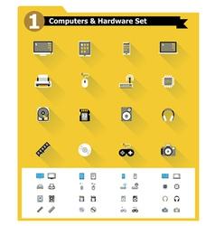 Flat computer hardware icon set vector image vector image