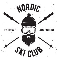 label of ski club vintage mountain winter badge vector image vector image
