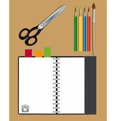 notebook scissors and pencils vector image vector image