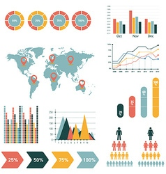 Retro infographics set World Map and Information vector image