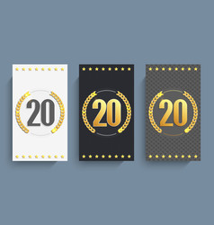 set of 20th anniversary cards template vector image