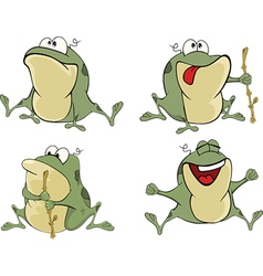 set of cute cartoon green frogs vector image vector image
