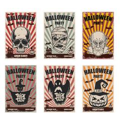 set of halloween banner templates monster vector image