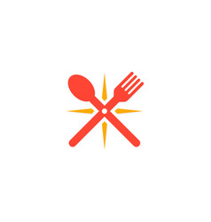 spoon and fork star logo vector image vector image