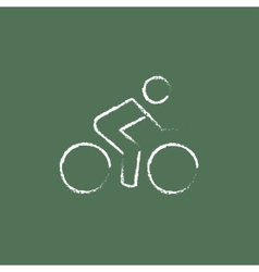 Sports bike and cyclist icon drawn in chalk vector image vector image