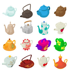 teapot icons set isometric style vector image vector image