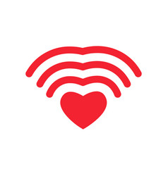 wi-fi love wifi heart wireless communication for vector image