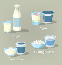 yogurt and kefir cottage cheese with sour cream vector image