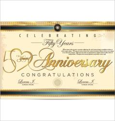 50 years anniversary diploma vector image vector image