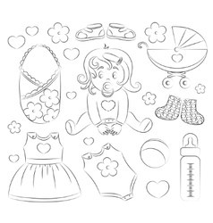 Baby girl design elements vector image