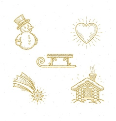 Christmas glitter gold sign and symbol vector image vector image