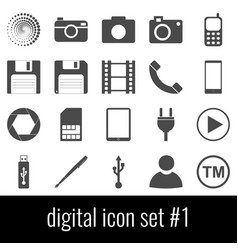 digital icon set 1 gray icons on white vector image vector image