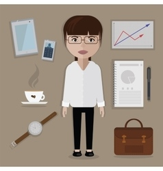 Office worker and business things accessories set vector image