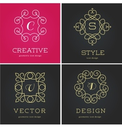 Collection of abstract geometrical icons elements vector image vector image
