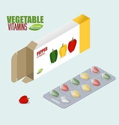 Pepper vitamins Vegetarian pills Tablets in pack vector image vector image