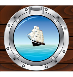 porthole and tallship vector image vector image