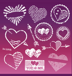 romantic grunge white frames and stamps vector image vector image