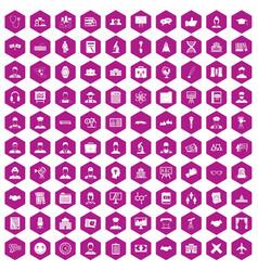 100 intelligent icons hexagon violet vector