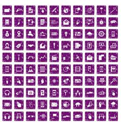 100 mobile icons set grunge purple vector