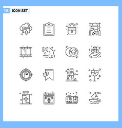 16 thematic outlines and editable symbols reel vector