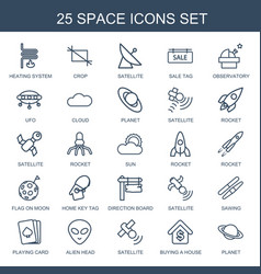 25 space icons vector