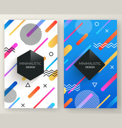 Abstract memphis style retro vertical banners with vector