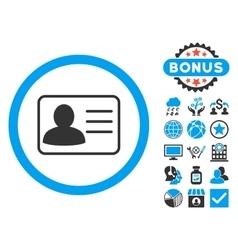 Account Card Flat Icon with Bonus vector