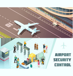 Airport horizontal isometric banners vector
