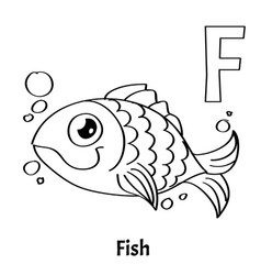 Alphabet letter f coloring page fish vector