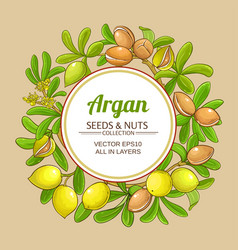 argan branches frame on color background vector image