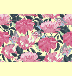 Art floral seamless pattern pink asters vector