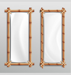 Bamboo frame realistic bamboo stems with vector