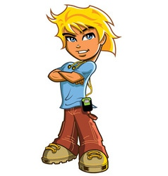 Blonde Boy With Headphones vector