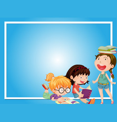 Border template with three girls reading book vector