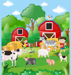 boys and farm animals in the field vector image