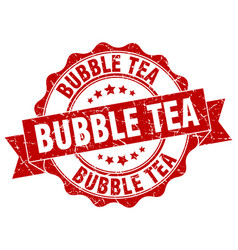 Bubble tea stamp sign seal vector