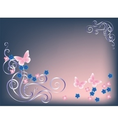 Card butterfly and flowers vector