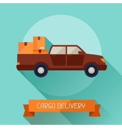 Cargo delivery icon on background in flat design vector image