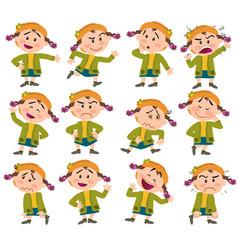 cartoon character girl set vector image