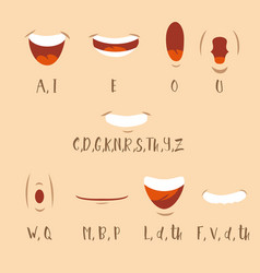 Cartoon talking mouth and lips expressions vector