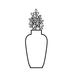 Ceramic vase decorative with leafs plant vector