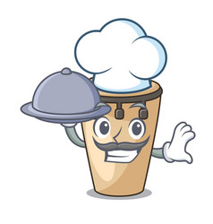 Chef with food conga mascot cartoon style vector