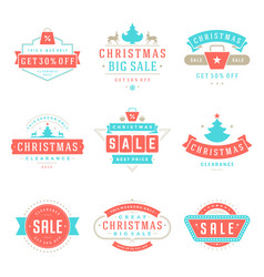 Christmas sale badges labels and tags design vector