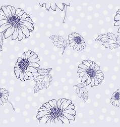 Chrysanthemum seamless pattern golden-daisy vector