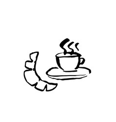 coffee and croissant grunge icon ink brush vector image